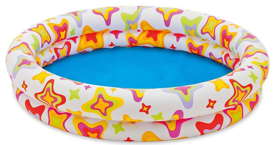 This colorful version of a round inflatable pool as a material lining the inflatable rings. this lining provides a bit more durability, making it harder to puncture or tear the rings. This can increase the longevity of your inflatable pool