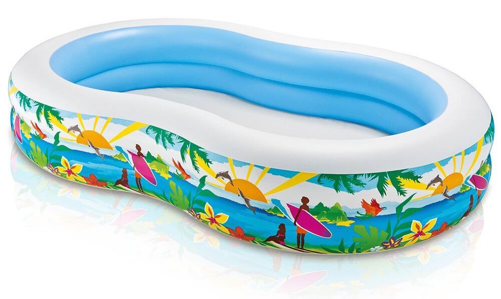 This kidney shape inflatable pool has a beach theme. It is a quick and easy inflatable pool that is perfect for couples, or laying out and soaking on a hot summer day.