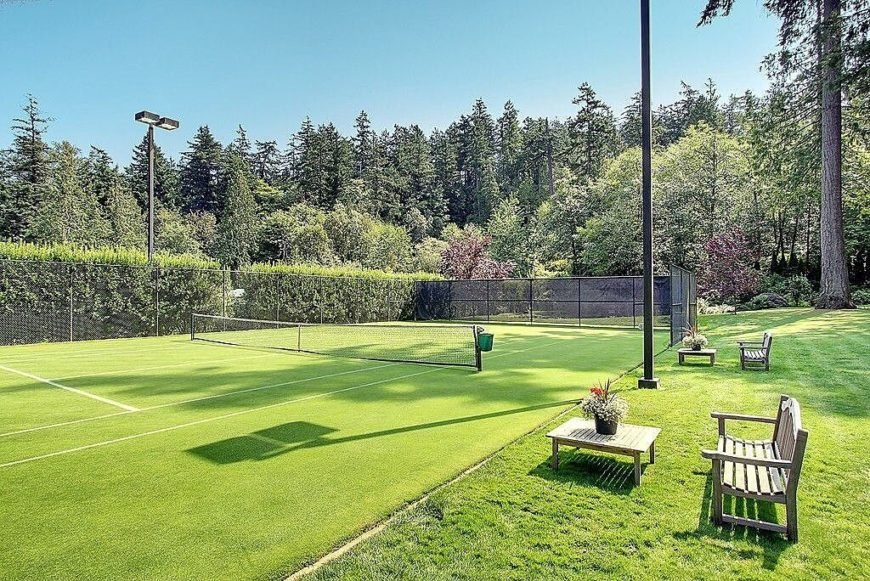 This turf tennis court is a little softer than your standard clay court, but it's still a great place to play a match or two