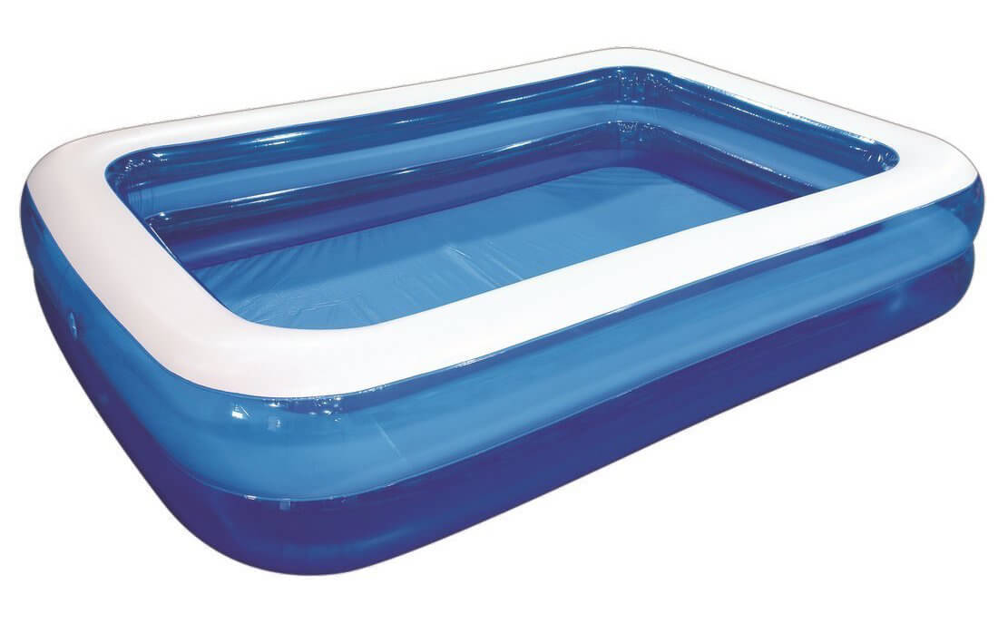 This is a rectangular inflatable pool is a clean and easy model with high walls, that is good for relaxing, and laying down and relaxing.