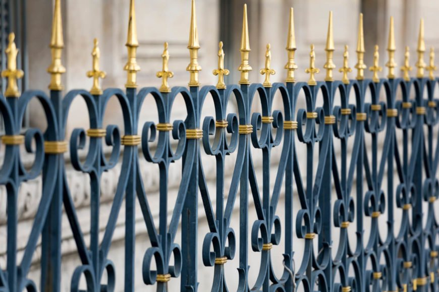 Coloring wrought iron can highlight the design and make the fencing really pop.