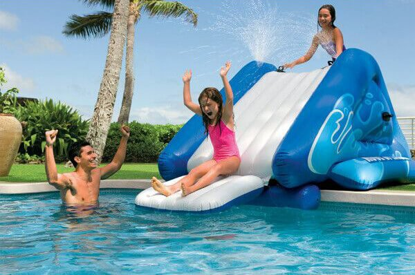 Here is a versatile and simple inflatable option for a pool. In a pinch this pool slide can be plenty of fun for children. With a water feature attached, the slide can bring the fun in the sun.