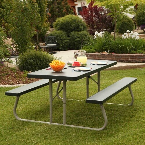 This is a simple, budget friendly aluminum picnic table that is easy to set up and looks great anywhere in your backyard.