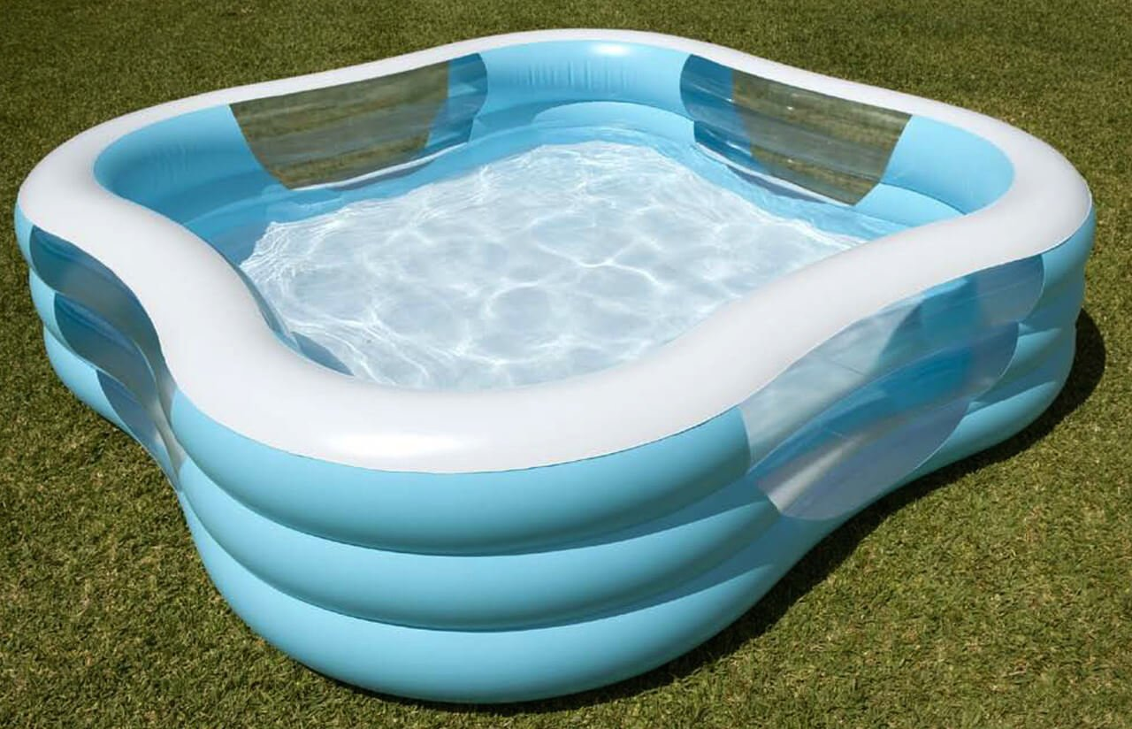 This is a nice blue and while inflatable pool. This pool is an easy one to set up and take down. Storage of this model is easy as if can easily fold into a very manageable size after deflated.