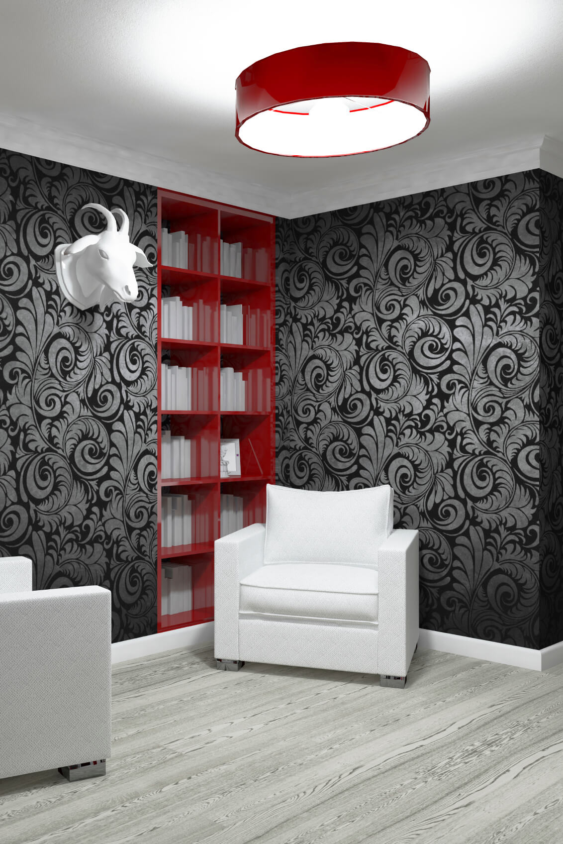 These built in shelves are colored red to make them pop against the rest of the monochromatic decor in this interesting and modern living room.