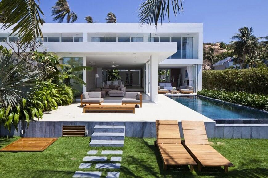 This pool is by the side of this nice patio area. It is small, but very elegant. and allows for ample seating. This area is designed to be very relaxing, and this pool is perfect for this space.