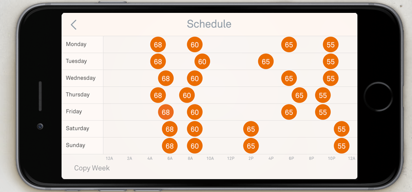 You can set detailed schedules with the app, with far more ease than you've ever been able to program a thermostat.
