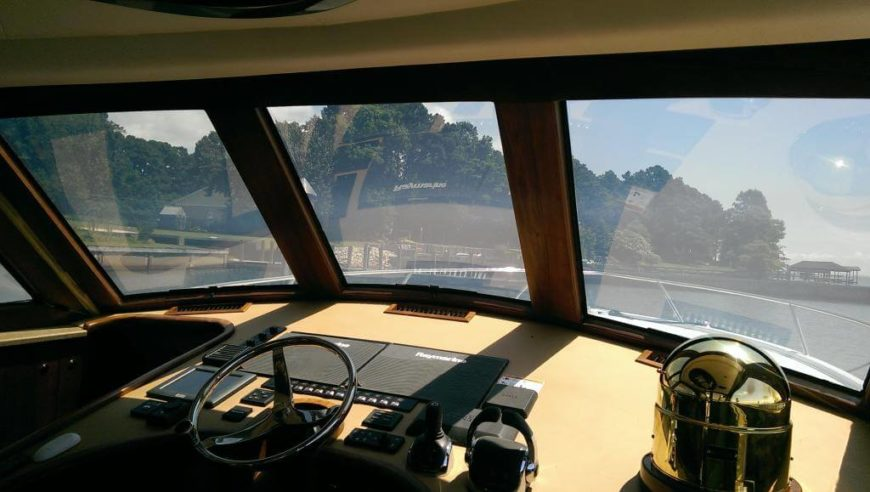 This versatile technology can be applied to a variety of situations beyond the household. Below we see the glass in use on a private boat, about as far as you could get from home and still require windows.