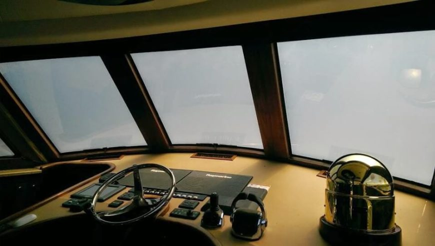 As we can see on the windshield of this boat, the smart tint can create an entirely closed off space with the touch of a button. The previously clear windshield becomes a closed curtain for when you're anchored and relaxing.