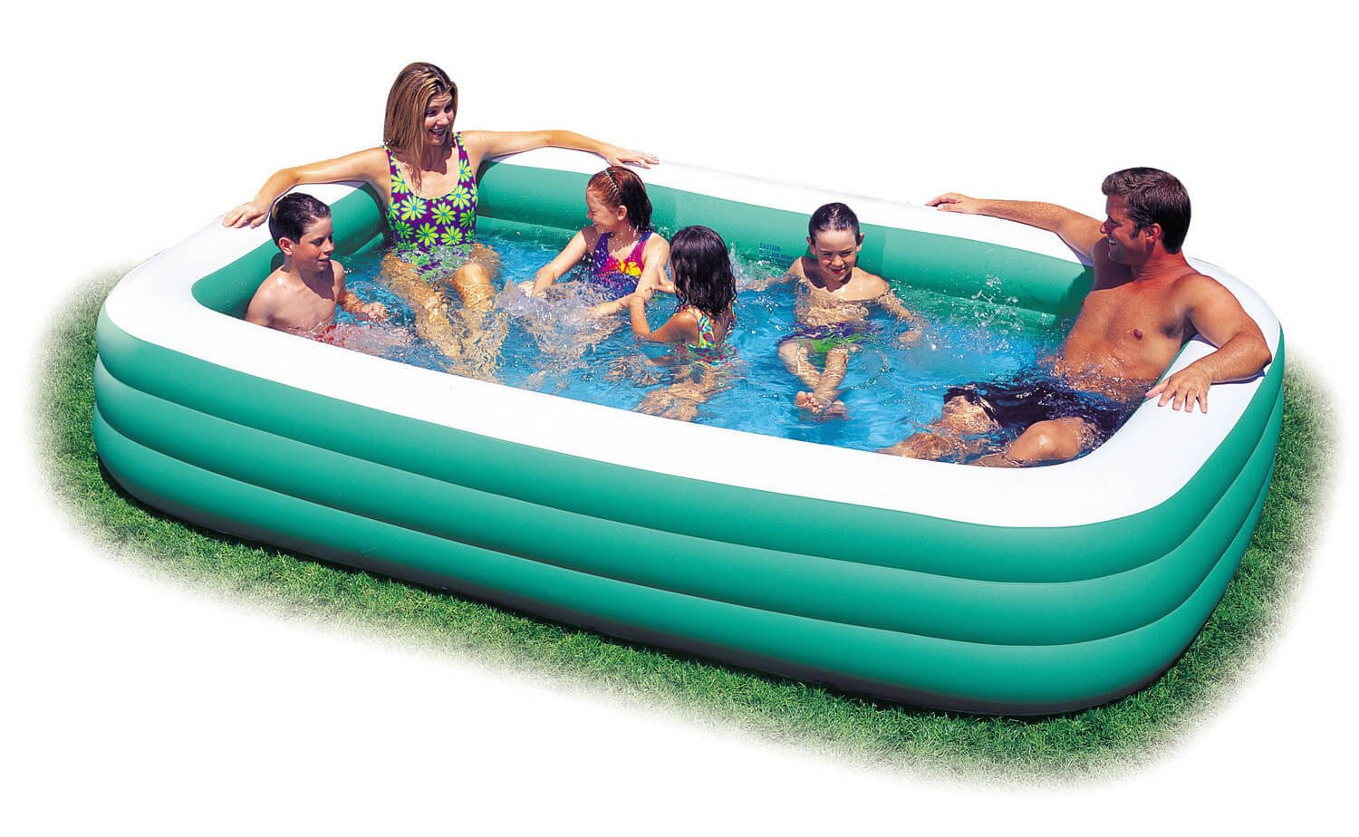 This longer inflatable pool is manageable in size, but large enough to allow multiple people to swim at once. This model is perfect for families with older children who need a bit more space to splash around and play in the water.