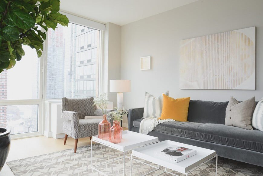 This is a perfect chair for this space. It has a fun pattern, and an interesting design that increases the visual appeal of the area, adding layers to the look.
