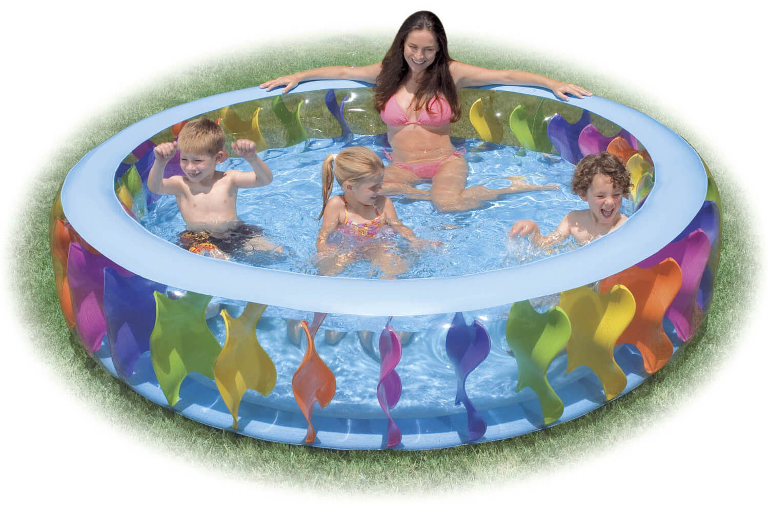 This large round inflatable pool has a fun and colorful design that is perfect for children. It is large enough for multiple people which makes it perfect for multiple children families.