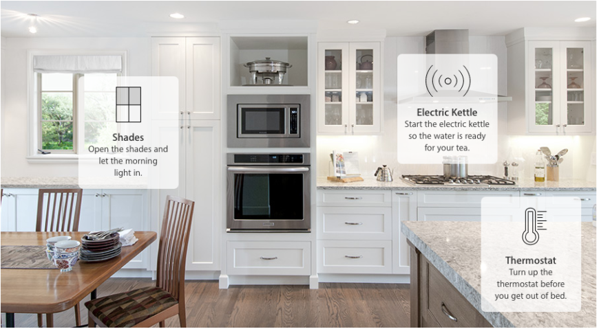 """You can create scenes like """"leaving home,"""" which could turn off lights, lock doors, and lower your thermostat. Even better, it all works via Siri's voice recognition software, so you can even go touch-free."""
