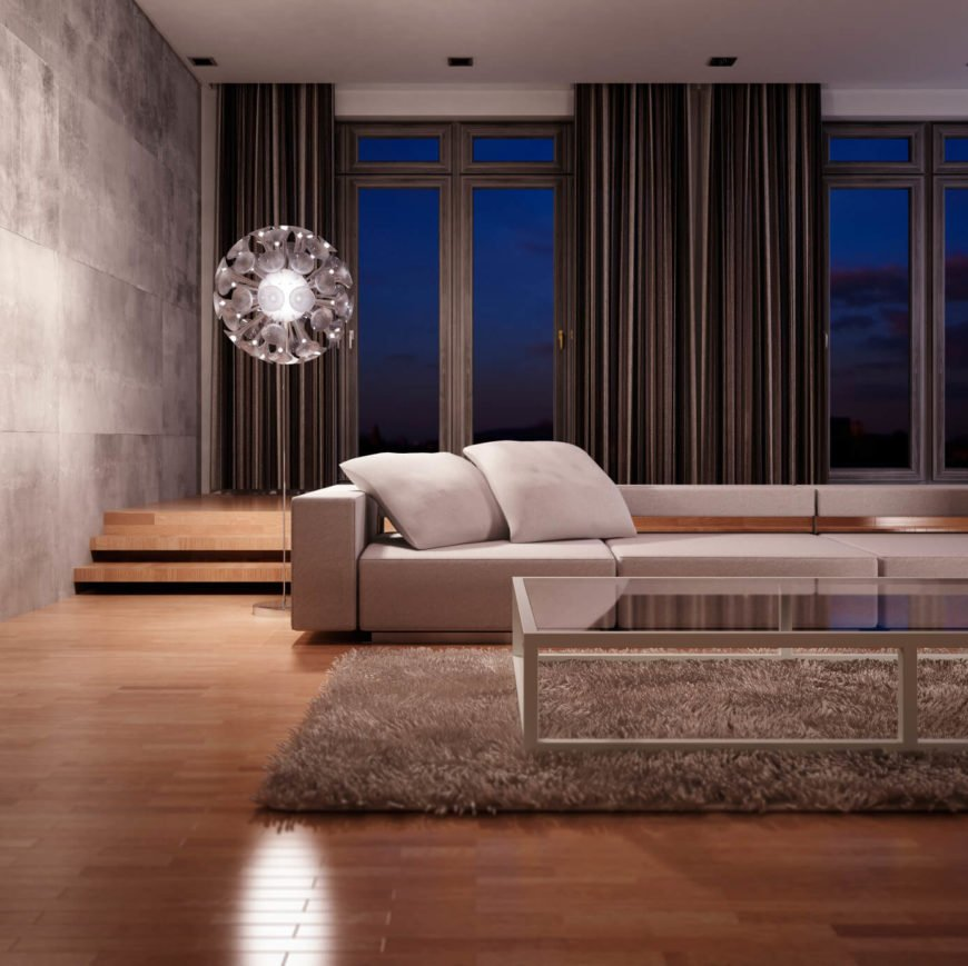 This sleek and modern design uses simple and toned down colors. Even without the flash and vibrance of brighter colors, this room is welcoming.