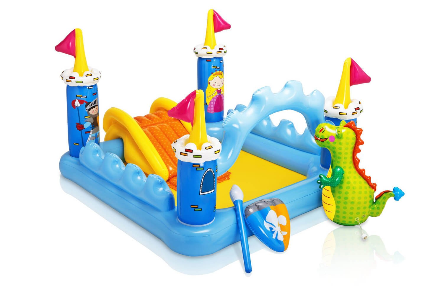Here is a flashy and fun play place style inflatable pool for children. With all the accessories, it is a quite interesting and entertaining swimming experience for children.