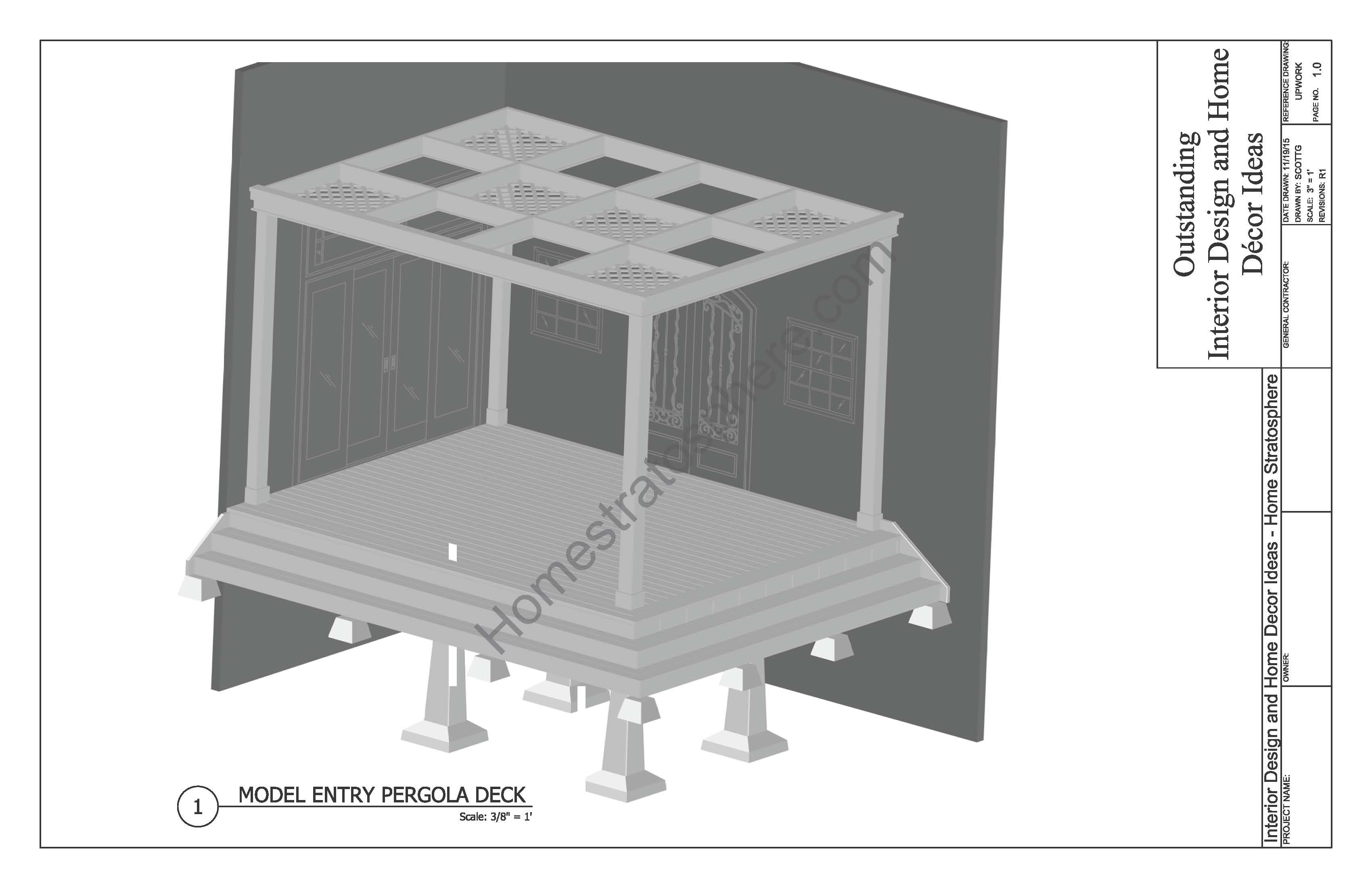Deck design with Pergola