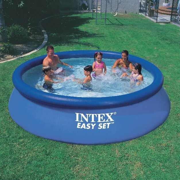 Here is a larger version of the inflatable ring and basin model. Because of the size of this version, it might be better in a back yard than in the front. This pool is a great family sized pool