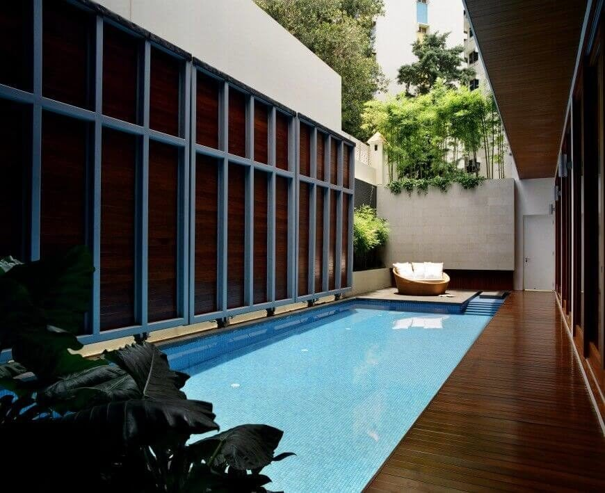 A walled in plunge pool, ideal for a post sauna cool down. a very private and secluded way to recuperate and relax.