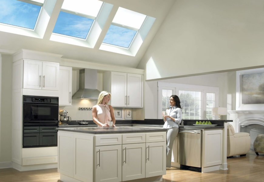 You'll be able to control light and air with a single tap on your smartphone, if you've installed Velux smart skylights. These skylights are a high tech, environmentally friendly, and money saving addition to any home, powered by a discreet solar panel. A rain sensor automatically closes the skylight at the first sign of inclement weather, and the solar powered blinds can con command.