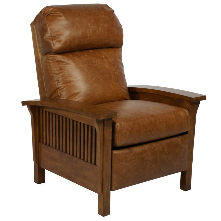 Our first living room chair features a bold, rich wood frame flanking a thickly padded, plush leather upholstered chair. The simplistic, sharp wood panels create a warm complementary tone with the stressed and comfortable leather, conveying that back-to-basics Craftsman style in a big, comfortable living room seating staple.