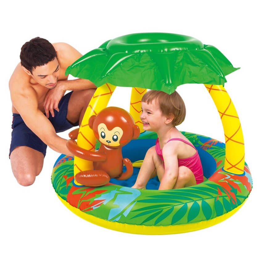 This is a small and fun inflatable pool for younger children. The jungle theme is fun and appealing to children.