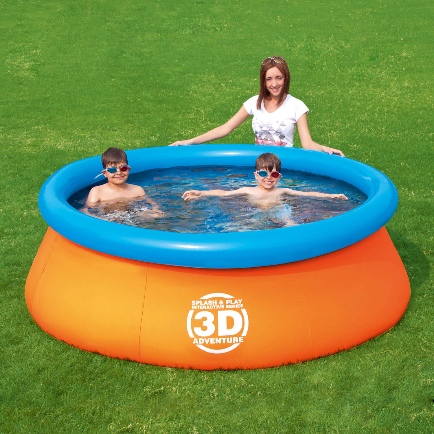 This is a different design of inflatable pool. It has an inflatable ring around a large basin of water. This kind of inflatable pool is good because it holds a good volume, and creates an opportunity for real swimming.