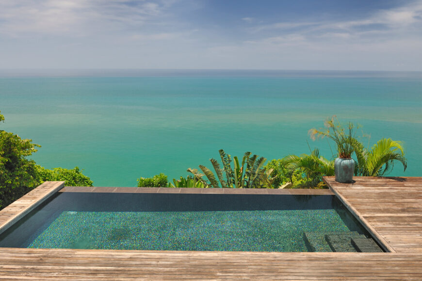 This gorgeous pool nestled into this deck area. It is small but wonderful place to relax in the water, overlooking the ocean. This pool goes to show that luxury is not always about the size of the pool.