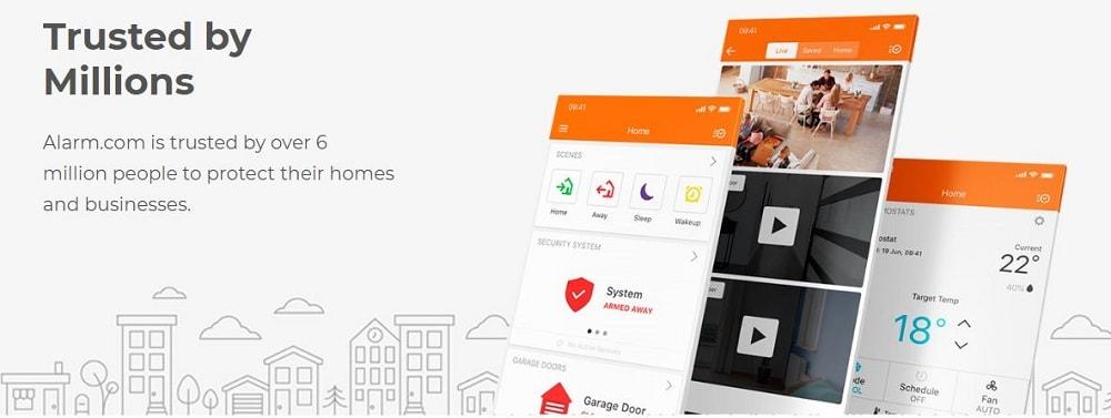 A screenshot of the Alarm.com homepage.
