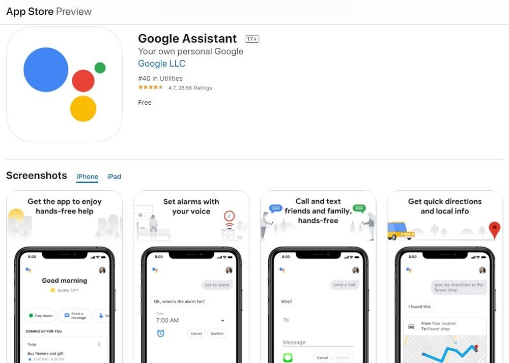 A screenshot of the Google Assistant App homepage.