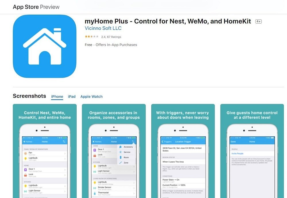 A screenshot of the myHome Plus App homepage.