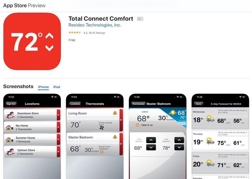 A screenshot of the Total Connect Comfort App homepage.