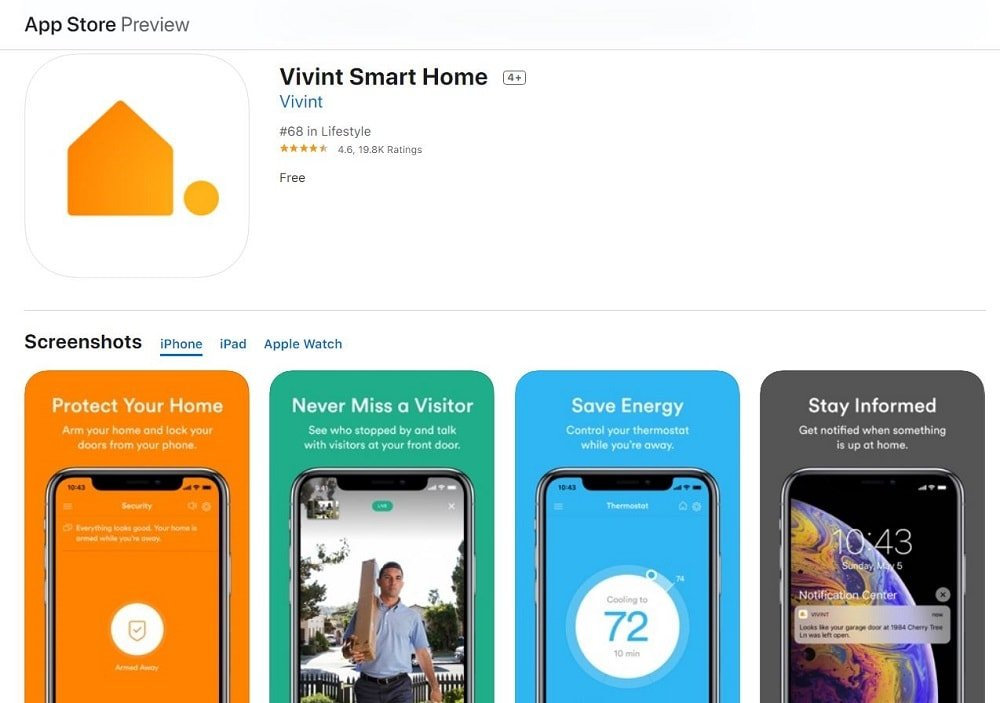 A screenshot of the Vivint Smart Home App homepage.