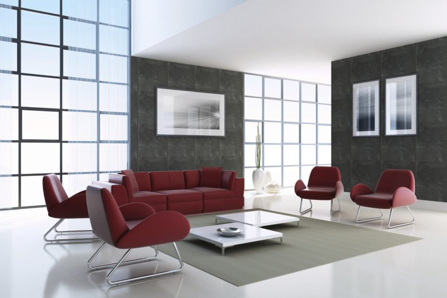 A chair is a great opportunity to expand your design and provide extra seating. The chairs in this example match the contrast color of the sofa, pulling the color further into the room and drawing more attention to the contrast.