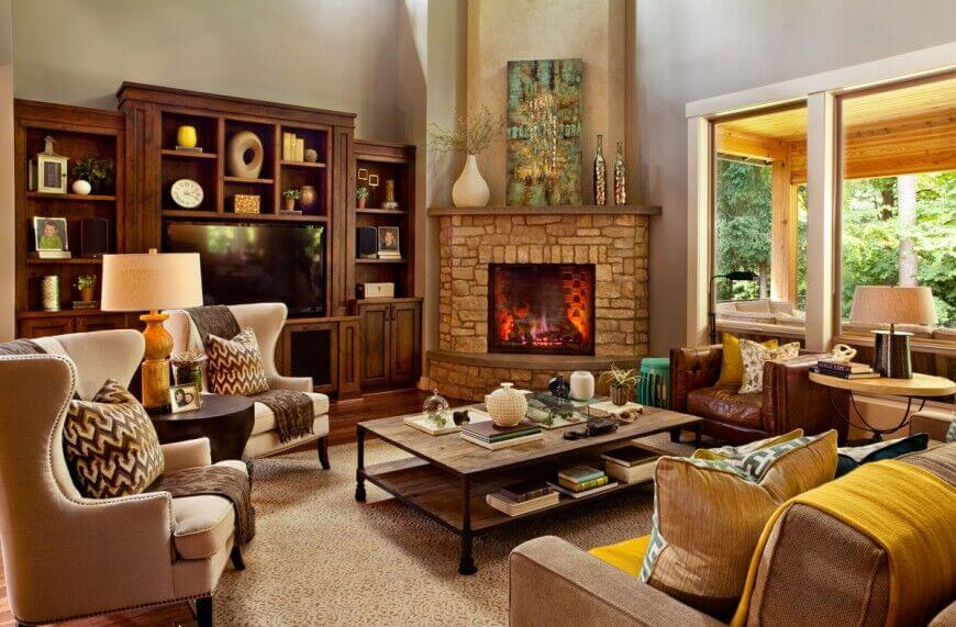 This room has a bit of storage under the coffee table, but also has quite a bit of shelving around the television. These storage areas are being used to display various items that work well with the overall design of the room.