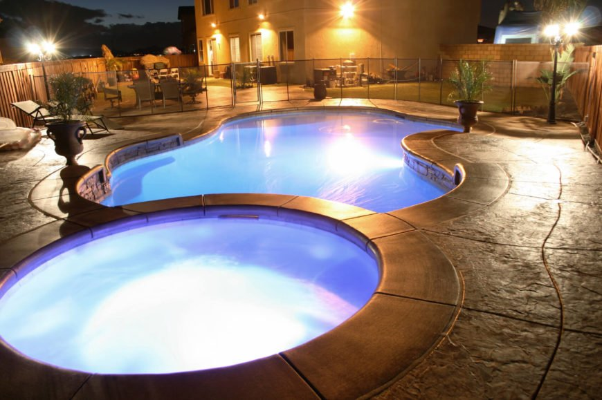 Here is a round hot tub with a lighting element. Nighttime is a great time to have a dip in a hot tub, and if you can get lighting elements incorporated into your hot tub, this can make the night time soak even more enjoyable and atmospheric.