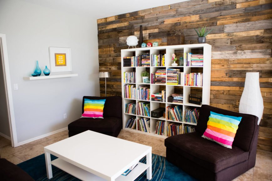 Colorful contemporary living room with cube storage.