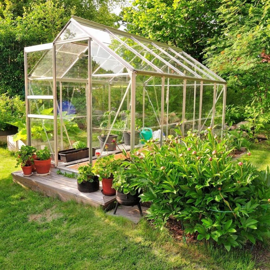 A greenhouse is a great tool in a vegetable garden if you have the room for one. These can extend your growing season, and keep your crops safe from pests and insects.