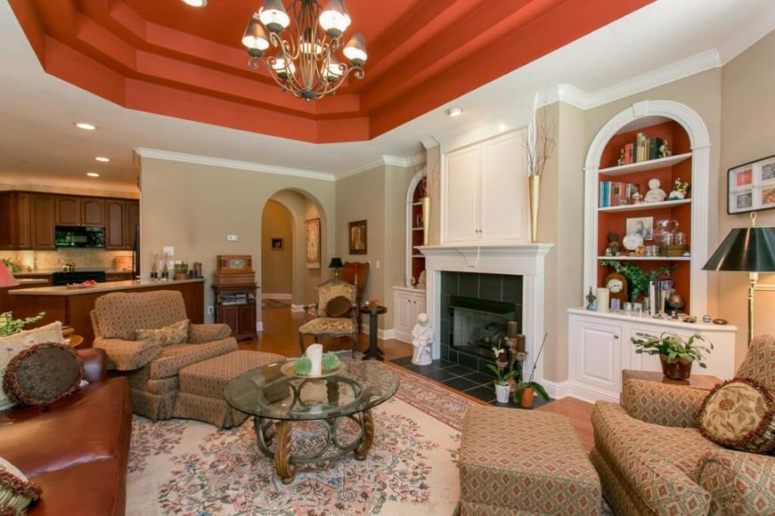 Here is a nice painted tray ceiling which adds some depth to the room, and a color element to the design that helps tie the room together. Painting the recess of a the tray is an interesting way of reinforcing your color palette and accentuating your design