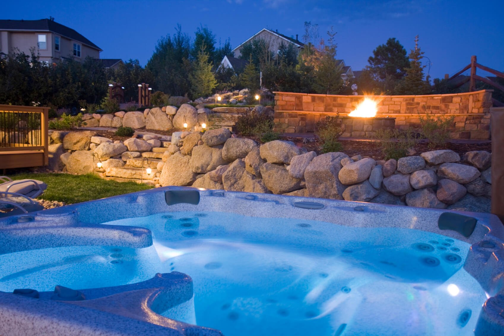 If you have put in a great deal of work into your landscaping and lighting of your outside area, the best way to enjoy it is to hop into a hot tub, soak in the warm water, and take it all in.