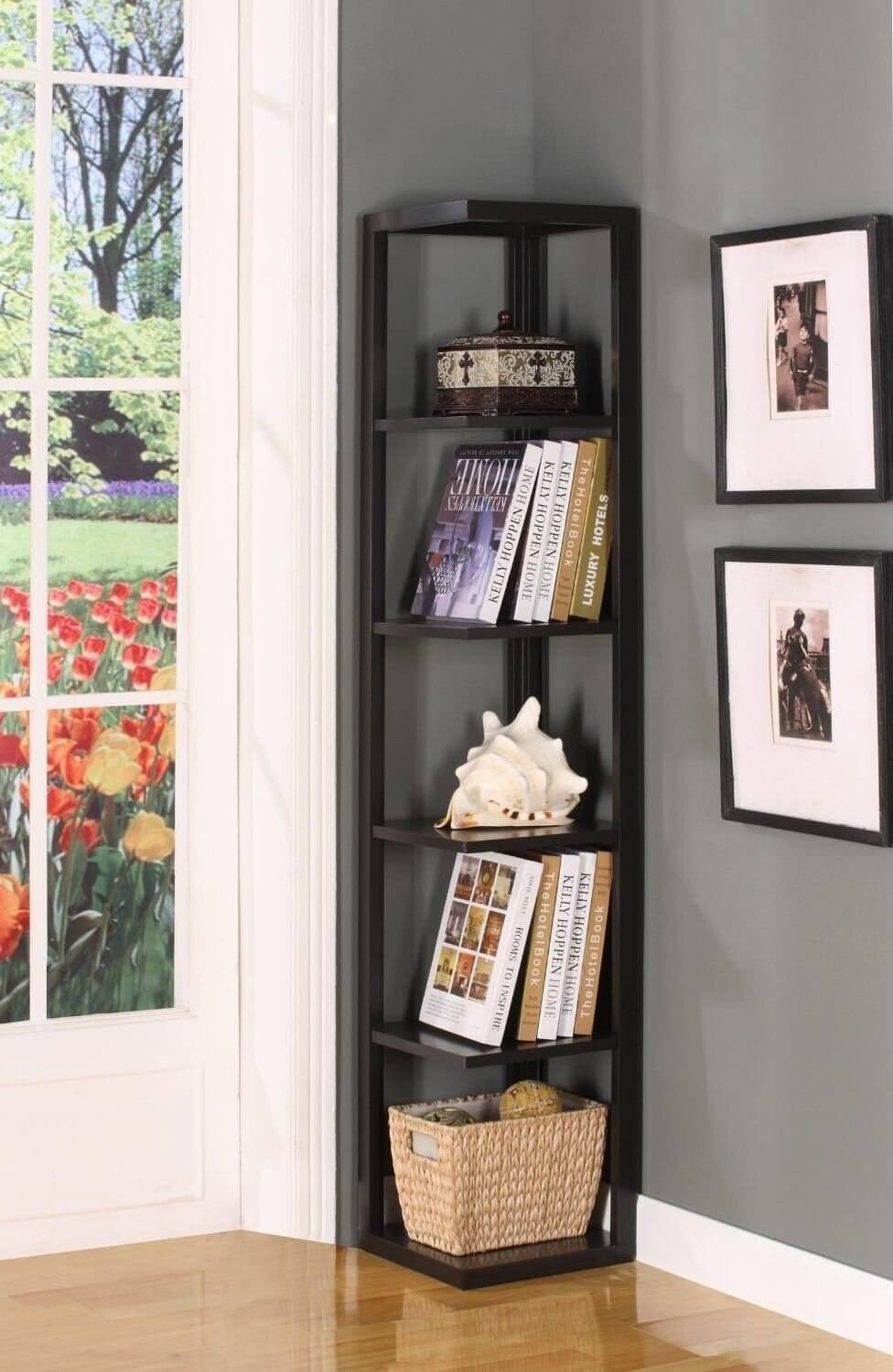 Of all the kinds of shelf units that one can get, corner shelves make the most out of limited and unused space. These are a great idea if you have unused corners and need a bit more storage space.