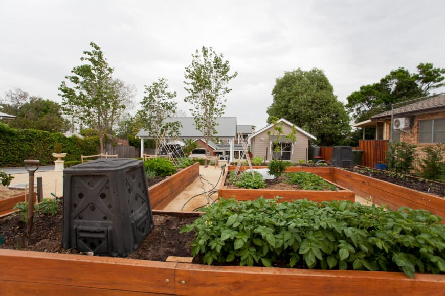 Here is a stunning set of raised garden beds. When you have a lot of space and make your own raised garden beds, you can make them in any shape you wish. This garden bed is in a long winding shape that circles the area.