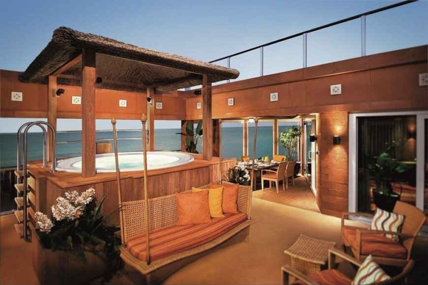 Because a hot tub is a great spot for socialization, you can incorporate it into your other seating areas and patios so people inside and outside of the hot tub can interact without much trouble.