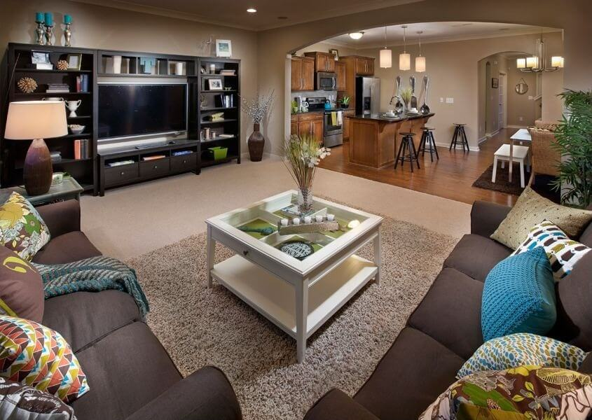 This entertainment center is a perfect opportunity for storage, as it has shelves and drawers. Entertainment centers have fallen out of favor in previous years, but they're still a great way to create wall-storage and hide loose wires