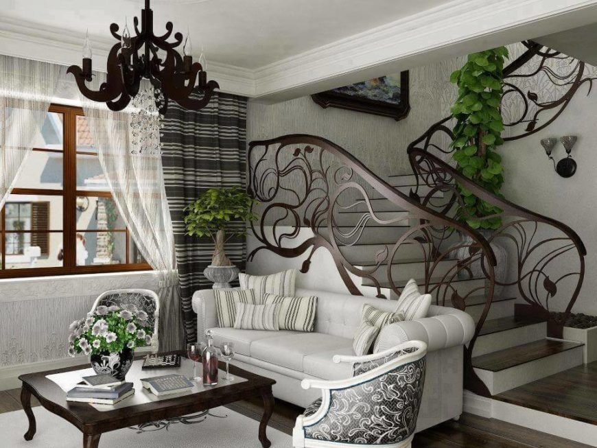 Indoors, metal can be used to great effect. This custom staircase railing features incredible and intricate metal vines all the way up the stairs.