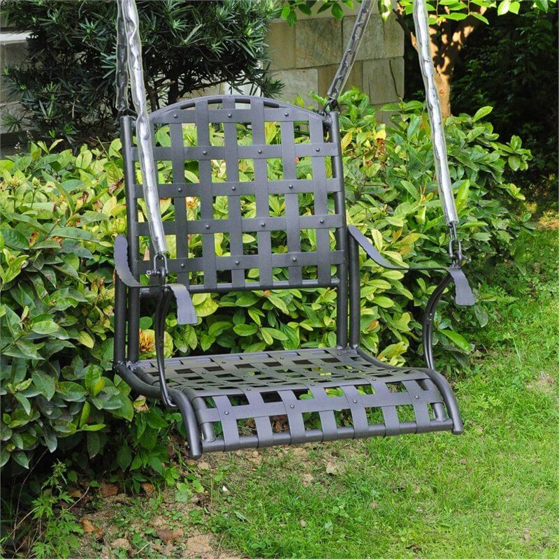 If a bench swing is too large for the space you have available, or you simply don't like to share your seat with others, you can find hanging porch swings that are single seats. This is a metal single seat swing hung by chains. A metal swing is easy to clean and looks good with almost any design.