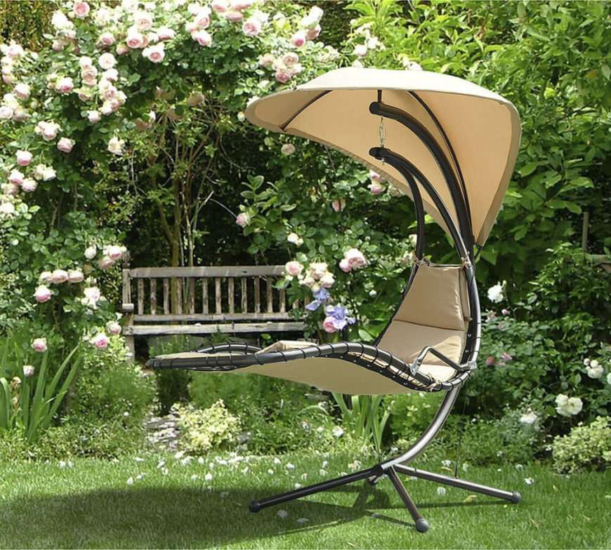 There are some unique yard swings available. This interesting swing has a teardrop shaped canopy over a reclined seat. Most swings are designed to swing back and forth; while this design still moves back and forth there is more room for a side to side swinging motion.