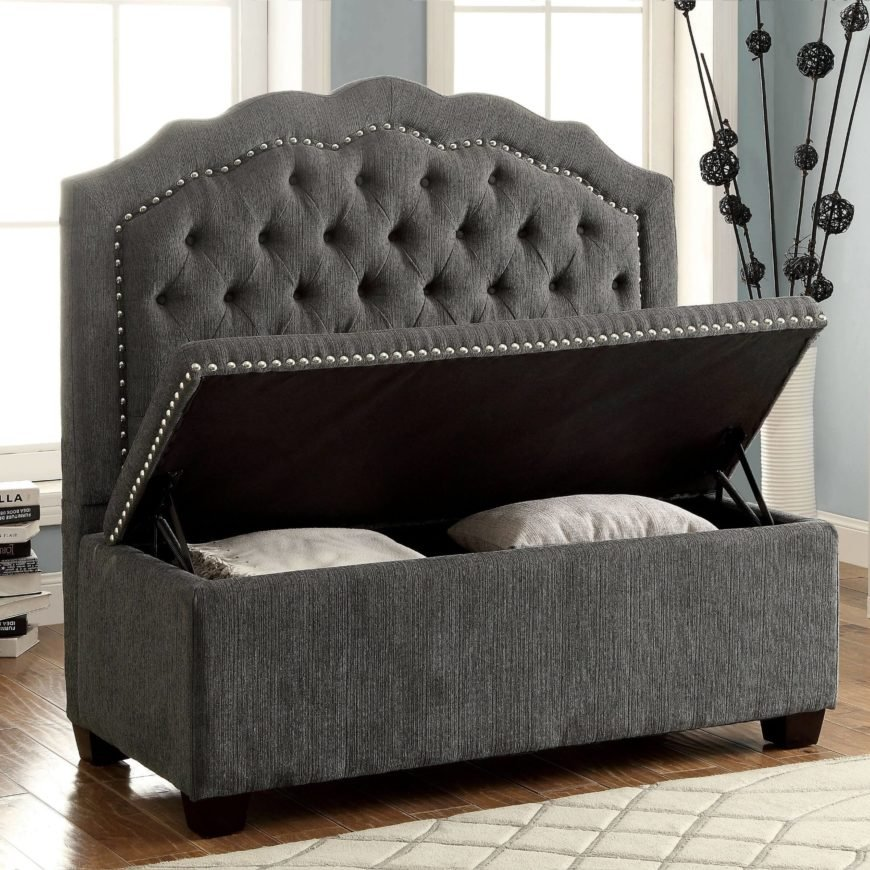 Here is a long bench with a storage area under the seat. This is a great storage option because it is a single piece of furniture with multiple uses. The more function a single piece of furniture has, the better