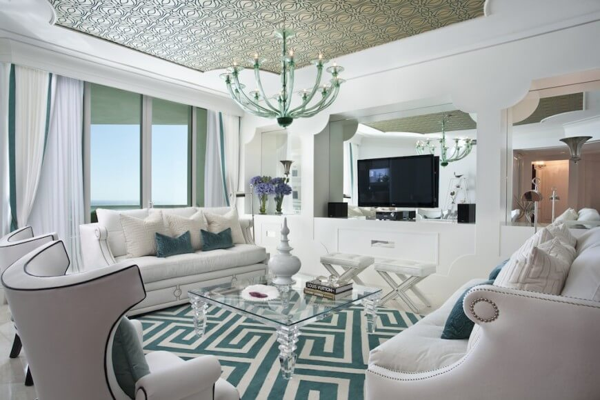 This ceiling is designed to tie into the color of the rest of the room. With this ceiling's color, it sets the stage for the rest of the palette so that the entire room is cohesive and unified