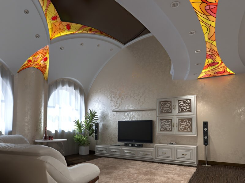 Here is an interesting vaulted ceiling with stained glass lighting fixtures. These features add to the cathedral appeal that vaulted ceilings can sometimes provide.