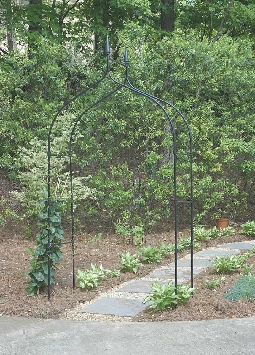 This incredibly simple prefabricated metal arbor is pointed at the top, much like a lamp. The design is easy to implement.